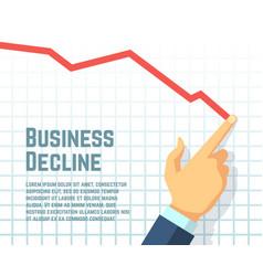 Businessmans hand drawing decrease graph profit vector
