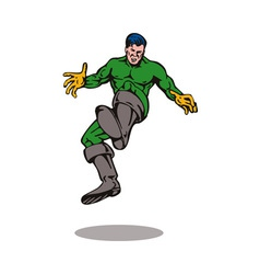 Cartoon super hero kicking vector