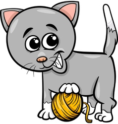 cat with yarn cartoon vector image