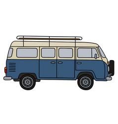 Classic blue minibus vector