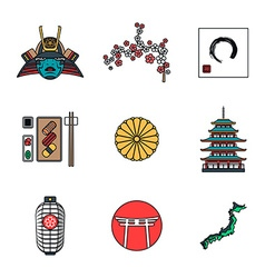 Colored outline various japanese icons set vector