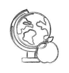 Contour earth plenet desk with apple fruit vector