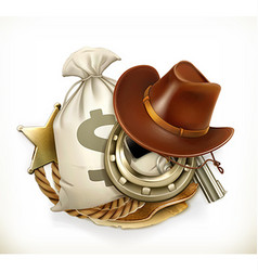 Cowboy Adventure Game logo 3d emblem vector image