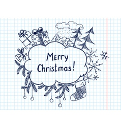 cute doodle christmas frame sketch vector image vector image