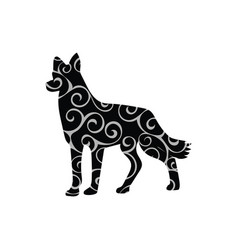 Dog pet color silhouette animal vector