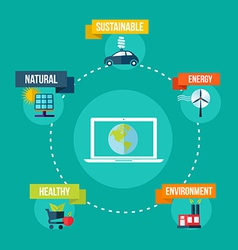 Ecology and technology concept flat design vector