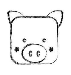 Figure square pig face animal vector