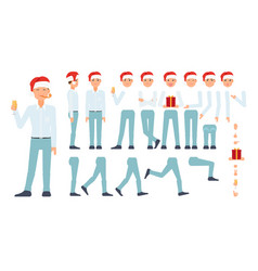 Flat business man celebration creation set vector