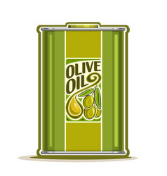 green metal bottle with olive oil vector image vector image