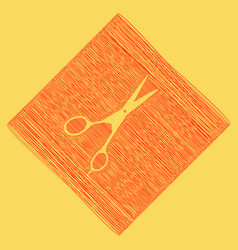 hair cutting scissors sign red scribble vector image