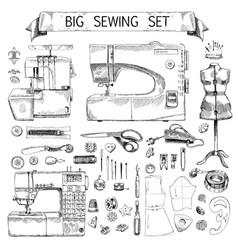 Hand drawn sketch big sewing set vector