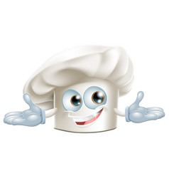 happy white chefs hat cartoon man vector image vector image
