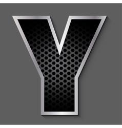 Metal grid font - letter Y vector image vector image
