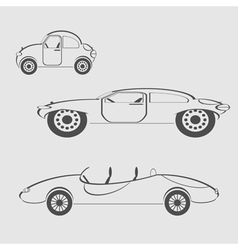 monochrome icon set with car vector image