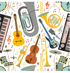 Musical seamless pattern made of different musical vector