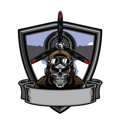 Pilot skull badge design vector