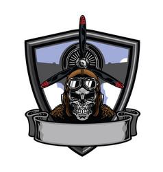 pilot skull badge design vector image vector image