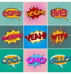 Pop art speech bubbles set vector image