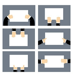 Set hands and white sheet Billboard Blank paper in vector image vector image