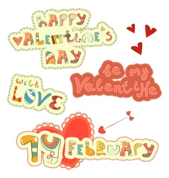 Set of Hand Lettering for Valentines Day vector image