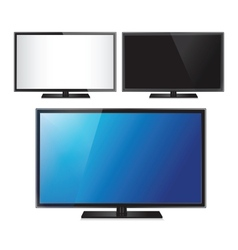 Set of three TV flat screen lcd plasma realistic vector image vector image