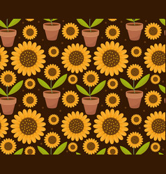 Summer seamless pattern with yellow sunflower vector