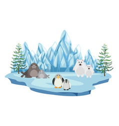 wildlife in the arctic land vector image vector image