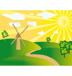 windmill in the field vector image