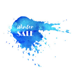 Winter sale hand paint blue watercolor texture vector