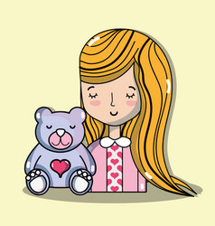 Woman lover with teddy bear vector