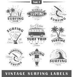 Set of vintage surfing labels vol1 vector