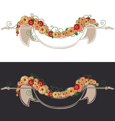 Vintage ribbon with flowers vector image