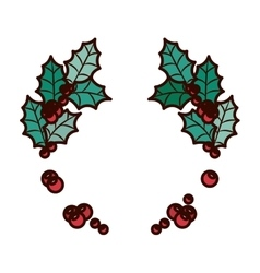 Ornament christmas with leaves and berrys vector