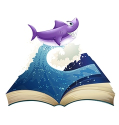 A book with an image of a wave and a shark vector image