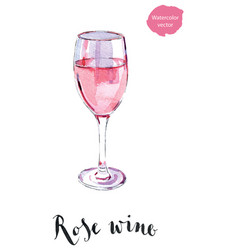 wineglass of rose wine vector image