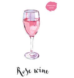 Wineglass of rose wine vector