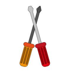 Color image cartoon set screwdriver with spade tip vector