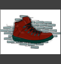 Red lace-up shoes on a gray brick wall background vector