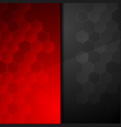 Contrast red black geometric hexagons background vector