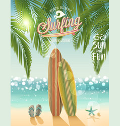 Surfing poster with tropical beach background vector