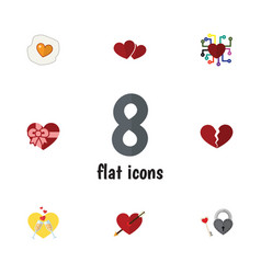 Flat icon amour set of divorce scrambled key and vector