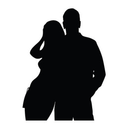 couple silhouette love in black color vector image