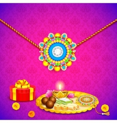 Decorated thali with rakhi for raksha bandhan vector