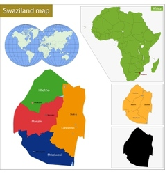 Swaziland map vector