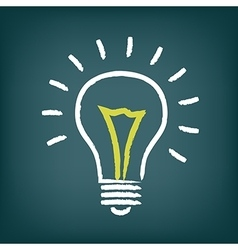 Chalk hand-drawn idea light bulb icon on gradient vector