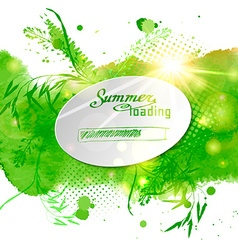 Postcard with the words summer loaded on green vector