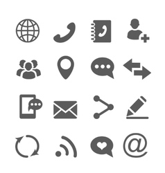 Contact communication icons set vector