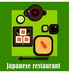 Traditional japanese cuisine and utensil vector