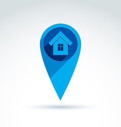 Map pointer with a house icon place location vector