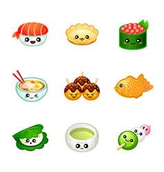 Cute japanese food vector